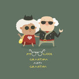 Cool grandma and grandpa wearing in leather jacket Royalty Free Stock Photos