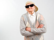 Cool grandma stands for her right Stock Image