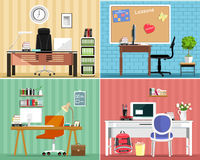 Cool graphic furniture set: tables, chairs, computers, notes, some furniture elements. Stylish interior design. Office furniture. Stock Image