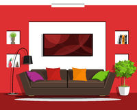 Cool graphic living room interior design with furniture. Flat style. Royalty Free Stock Image