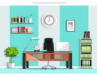 Cool graphic office room interior design with furniture: chair, table, bookcase, shelves, lamp. Flat style. Royalty Free Stock Photos