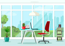 Cool graphic office room interior design with great window and furniture: chair, table, bookcase, lamp. Royalty Free Stock Images