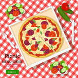 Cool graphic vector concept of picnic menu ideas for summer vacation. White checked cloth with pizza, sandwiches and vegetables. Stock Images