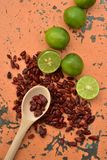 Cool limes and spicy hot dried red chili peppers Royalty Free Stock Image