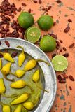 Cool limes and spicy hot dried red chili peppers Stock Images