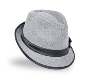 Cool grey, felt trilby/fedora hat isolated on a white background Stock Images