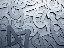 Cool grey metal texture numbers Stock Photography