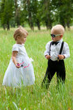 Cool groom with bride Royalty Free Stock Image