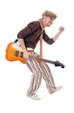 Cool guitarist on white Stock Images