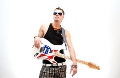 Cool guitarist on white background Stock Images