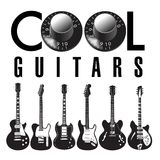 Cool guitars graphic with lots of guitars. Use as guitar event design for flyer, poster, invitation Stock Photos