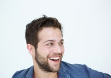 Cool guy with beard laughing on white background Royalty Free Stock Image