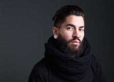 Cool guy with beard and piercings Stock Photos