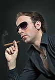 Cool guy with cigar Royalty Free Stock Images