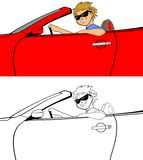 Cool Guy in Convertible. Vector illustration of a young man driving a convertible sports car Stock Photo