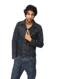 Cool guy in denim jeans jacket Stock Image