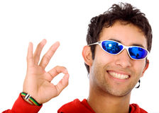 Cool guy doing the ok sign Stock Photos