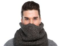 Cool guy with gray scarf covering face Stock Photos