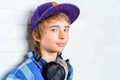 Cool guy with headphones Royalty Free Stock Images