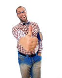 Cool guy nerd with a book under his arm showing gesture - Class Stock Photography
