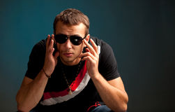 Cool guy wearing sunglasses Stock Image
