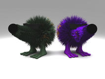 Cool guys. Look like hedgehogs, made in 3d Royalty Free Stock Image