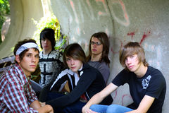 Cool Guys. Group of teen boys hanging out stock image