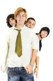 Cool guys team. Portrait of young cool guys standing with happy expression - isolated over white stock images