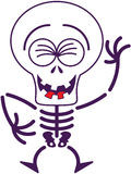 Cool Halloween skeleton laughing enthusiastically Royalty Free Stock Photos