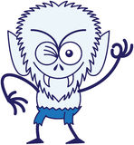 Cool Halloween werewolf winking and making an OK sign. Mischievous werewolf with big head, bulging eyes, blue pants, blue fur and sharp fangs while frowning Royalty Free Stock Photography