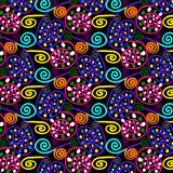 colorful swirls and dots in a repeating pattern stock illustration