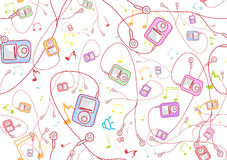 Cool hand-drawn mp3 players Royalty Free Stock Photo