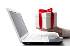 giving a gift online Stock Photography