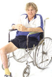 Cool handicap senior. Isolated on white Stock Photos