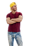 Cool handsome guy with crossed hands. Royalty Free Stock Image