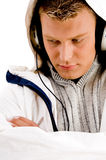 Cool handsome guy enjoying songs Stock Photos