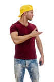Cool handsome guy looking sideway. Stock Photos