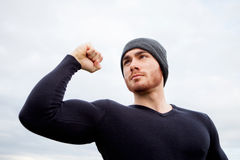 Cool handsome guy with strong arms Royalty Free Stock Photography