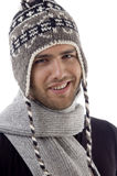 Cool handsome guy wearing woolen cap Stock Photography