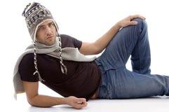 Cool handsome guy wearing woolen cap Stock Image
