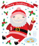 Cool Happy Santa Eating Cookies. With Merry Christmas Banner Royalty Free Stock Photos