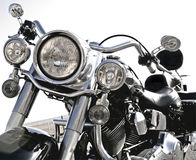 Cool Harley. High key image of cool motorcycle front view Royalty Free Stock Photography