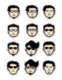 Cool Head Icons. Vector illustration of Twelve different head icons of cool dudes Stock Image