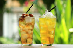 Cool Herb drink. /Longan cold water and Chinese Thai herb juice, Chrysanthemum Stock Photos