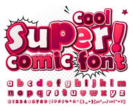 Cool high detail comic font in pink colors. Comics Stock Photography