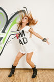 Cool hip-hop dancer with flying Stock Photography