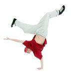 Cool hip hop style dancer.breakdance. Shot over white background Royalty Free Stock Photo