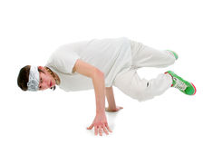 Cool hip hop style dancer.breakdance. Shot over white background Royalty Free Stock Images