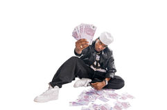 Cool hip-hop young man on white Stock Photography