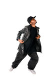 Cool hip-hop young man on white Royalty Free Stock Photos